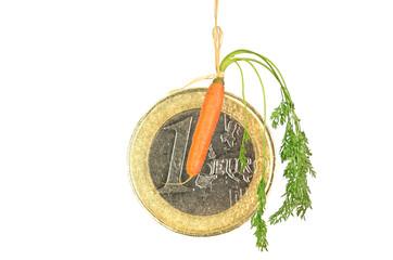 carrot motive hanging - euro crisis bonus
