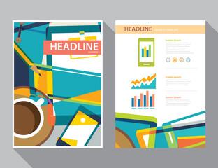 set of magazine cover , flyer, brochure flat design templates