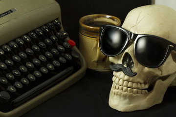 Hipster Skull, Typewriter and Coffee