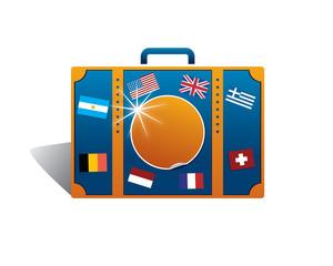 travel bag with souvenir flags