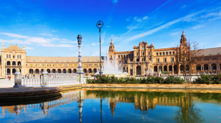 Day sunny view of Plaza de Espana. Seville