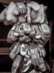 Woolen gloves and mittens in a bundle