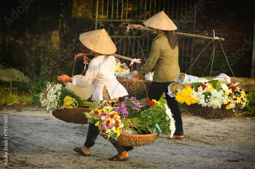 Life of vietnamese florist vendor in Ha Noi, VIETNAM - 79376681