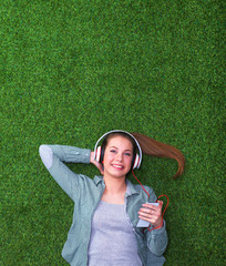 Woman listening to the music.