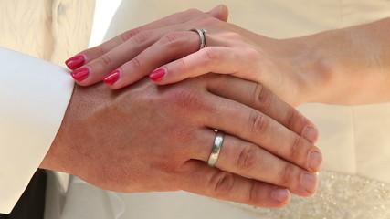 groom and bride hands in bridal rings