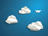 Paper plane flying between clouds. Modern polygonal shapes