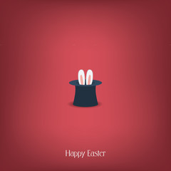 Happy Easter postcard design. Bunny ears in magician or