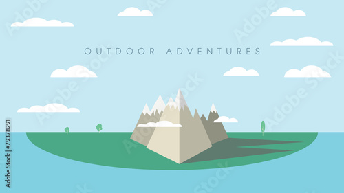 Outdoor adventures concept background with high mountains and - 79378291