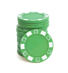 stack of green poker chips on white with clipping path
