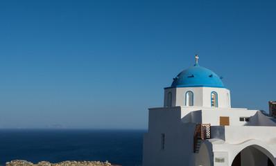 Greek orthodox church on Astypalea island staring the sea