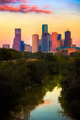 City of Houston in Texas at Sunset