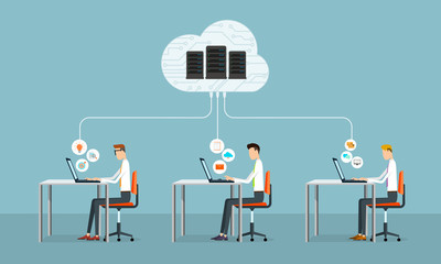 people business  working on cloud network