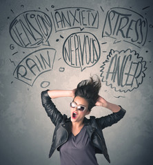 Mad young woman with extreme haisrtyle and speech bubbles