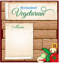 .vegetarian menu on wood background