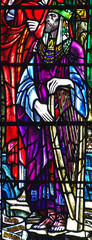 King David with a harp in stained glass