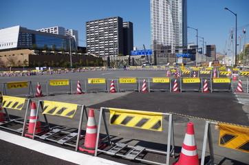 道路工事中の交差点