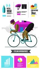 Cyclist racing infographics. flat character design vector