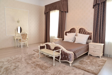 "Interior of a bedroom of a double hotel room ""luxury"" in light t"