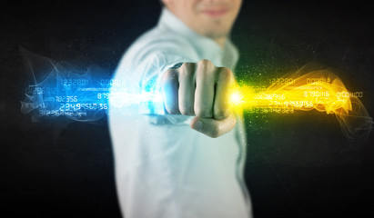 Business Man holding colorful glowing data in his hands