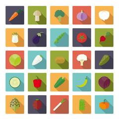Vegetables Flat Design Square Vector Icon Set