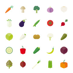 Vegetables Flat Design Isolated Vector Icon Set