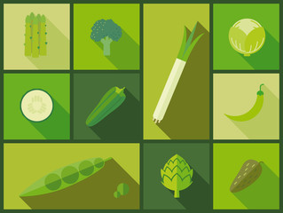 Green vegetable icons vector illustration