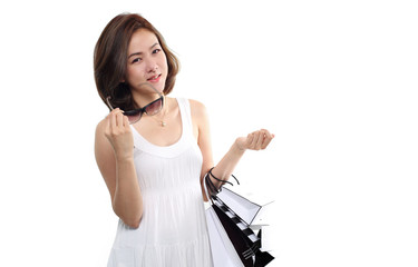 women asian happy smiling holding shopping bags isolated