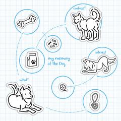 Dog icon emotion blue graph background set b