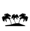 Tropical island with palm trees silhouette - 79386072