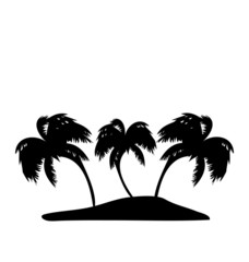 Tropical island with palm trees silhouette