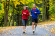 Healthy lifestyle - woman and man running - 79386434
