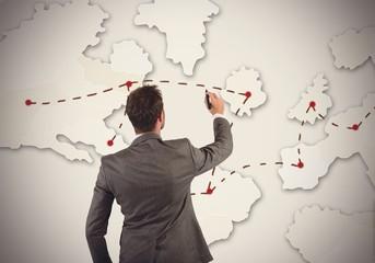 Businessman organizes marketing strategy