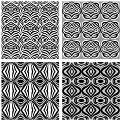 Abstract geometric seamless pattern. Set of black and white patt