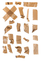 Collection of duct tape shapes on white background.