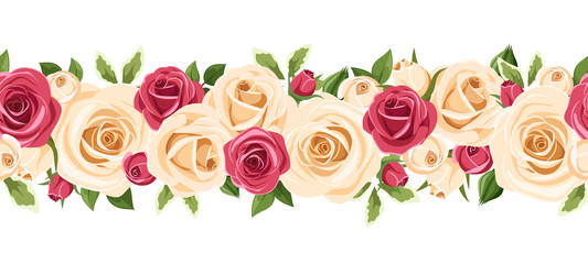 Horizontal seamless background with red and white roses.