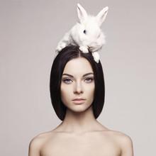 """Постер, картина, фотообои """"Beautiful woman with rabbit"""""""
