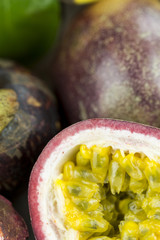 Selection of healthy ripe exotic tropical fruit