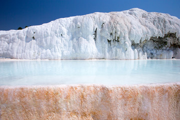 travertine pools and terraces in Pamukkale Turkey