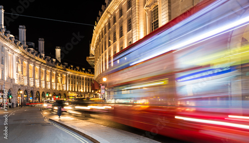 Regent Street view at night, London.