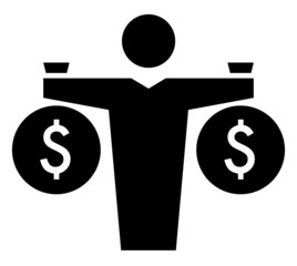 Man with money bags icon