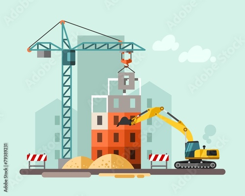 Construction site, building a house. - 79389231