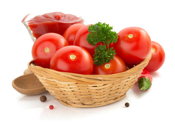 tomato and sauce on white background