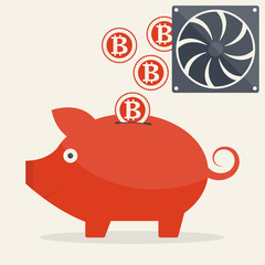 Piggy bank with mining bitcoins