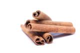 Pile of aromatic cinnamon sticks. poster