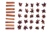 Top view row of aromatic cinnamon sticks and star anise. poster