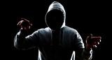 Futuristic hacker attack virtual cybercrime poster