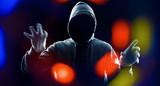 Cybercrime futuristic technology concept hacker attack poster