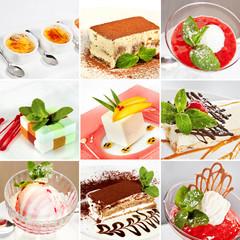 Various desserts collage