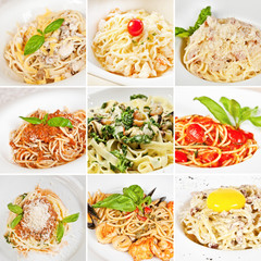 Various pasta collage