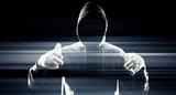 Dark hacker in black, future cybercrime poster